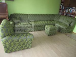 velká zelená sedací souprava na míru